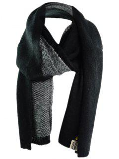 Pineapple And Letter Embellished Artificial Wool Shawl Scarf - Black