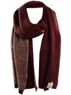 Pineapple And Letter Embellished Artificial Wool Shawl Scarf - Claret