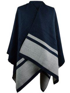 Outdoor Stripe Pattern Artificial Wool Blanket Scarf - Cadetblue