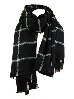 Checked Pattern Artificial Wool Fringed Shawl Scarf - Black