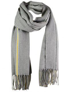 Striped Pattern Artificial Wool Fringed Long Scarf - Gray