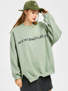 Letter Graphic Slit Cut Out Sweatshirt - Light Green