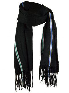 Striped Pattern Artificial Wool Fringed Long Scarf - Black