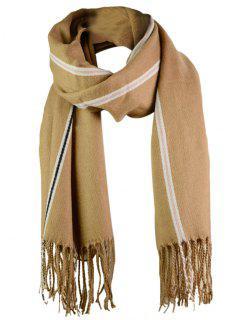 Striped Pattern Artificial Wool Fringed Long Scarf - Khaki