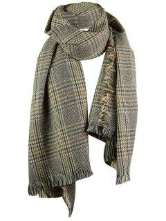 Plaid Pattern Faux Wool Fringed Shawl Scarf - Feather Gray