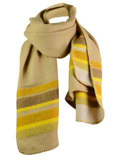 Striped Pattern Artificial Wool Reversible Shawl Scarf - Ginger