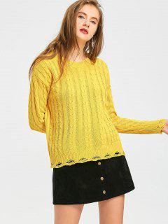 Suéter De Punto De Cable Rasgado - Amarillo