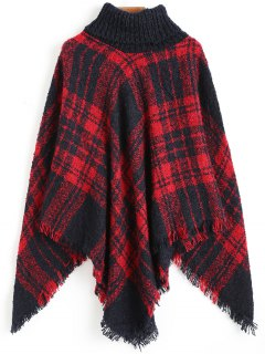 Turtleneck Checked Poncho Sweater - Red