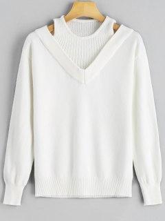 Pullover Mit Gerippter Trimmung Und Kalter Schulter  - Weiß