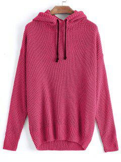 Oversized Hooded Pullover Sweater - Rose Red