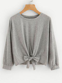 Loose Bowknot Cropped Sweatshirt - Gray L