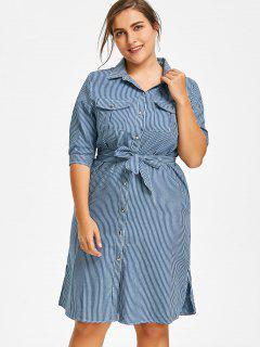 Plus Size Side Slit Striped Shirt Dress - Blue And White 4xl