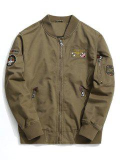 Patch Design Zipper Bomber Jacket - Deep Khaki L