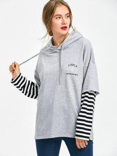 Drawstring Neck Striped Hoodie - Heather Gray S