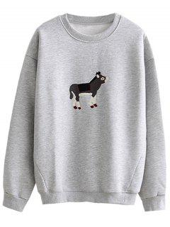 Loose Cow Embroidered Sweatshirt - Light Gray