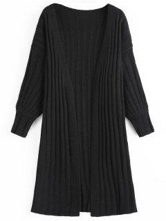 Textured Long Cardigan - Black