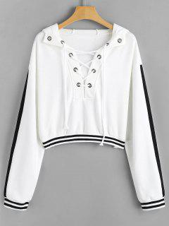 Striped Lace-up Crop Hoodie - White