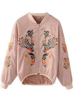Zip Up Bestickte High Low Jacke - Pink L