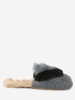 Color Block Outdoor Indoor Faux Fur Slippers - Gray 36