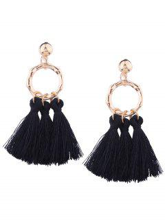 Alloy Metal Geometric Tassel Earrings - Black