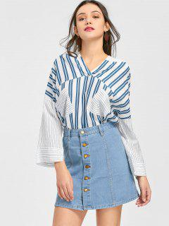 Striped Hooded Blouse And Denim Skirt Set - Light Blue S
