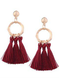Alloy Metal Geometric Tassel Earrings - Purplish Red C5
