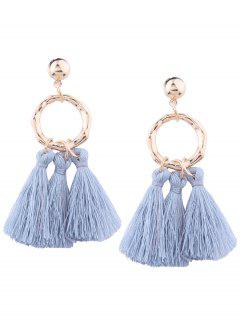 Alloy Metal Geometric Tassel Earrings - Blue+purple
