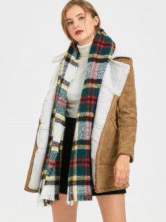Zweireihiger Shearling Mantel Mit Taschen - Khaki S