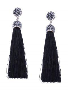 Statement Rhinestoned Tassel Earrings - Black