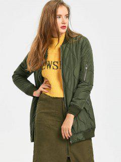 Plain Zip Up Puffer Coat - Army Green S