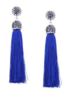 Statement Rhinestoned Tassel Earrings - Blue