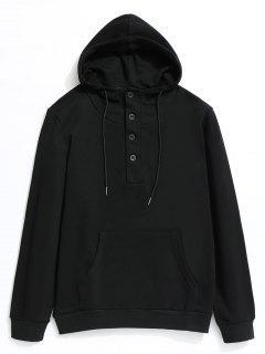 Half Button Kangaroo Pocket Pullover Hoodie - Black 2xl