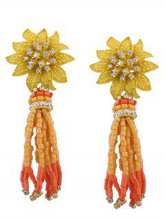 Rhinestone Statement Flower Beaded Tassel Earrings - Yellow