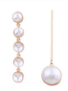 Statement Asymmetric Faux Pearl Earrings - Golden