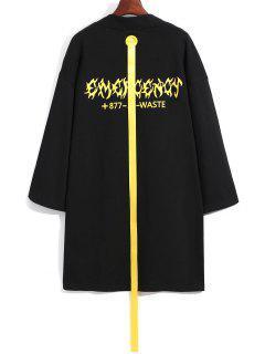 Ribbon Embellished Long Coat - Black 2xl