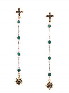 Resin Vintage Crucifix Chain Drop Earrings - Golden