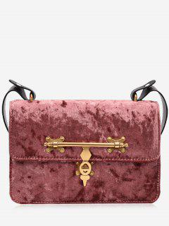 Metal Embellishment Crossbody Bag - Pink