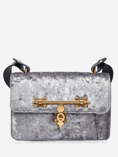 Metal Embellishment Crossbody Bag - Silver