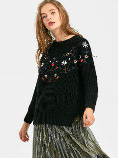 Floral Patched Side Slit High Low Sweater - Black