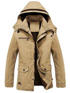 Hooded Double Neck Woolen Lining Jacket - Khaki Xl