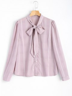 Bow Tied Button Up Checked Shirt - Checked L