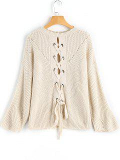 Convertible Lace-up Sweater - Apricot