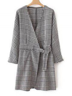 Crossed Front Houndstooth Long Sleeve Dress - Checked L