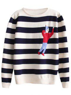 Cartoon Graphic Stripes Pullover Sweater - Stripe