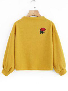 Sweatshirt Mit Laternen-Hülse Und Rosestickerei Patch  - Dunkel Gelb