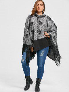 Plus Size Cowl Neck Fringe Poncho Top - Black 2xl