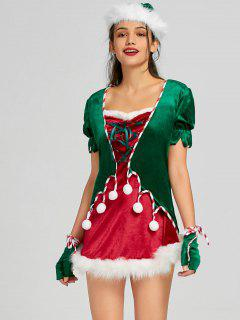 Christmas Lace Up Mini Dress With Hat And Gloves - Red L