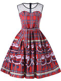 Christmas Santa Claus Sheer Swing Dress - Red L