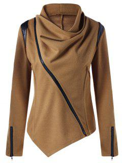 Cowl Neck Zip Cuff Asymmetrical Jacket - Camel S