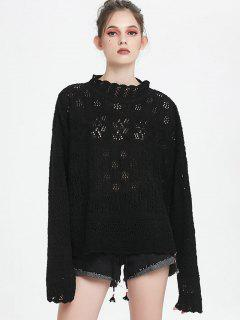 High Neck Hollow Out Sweater - Black